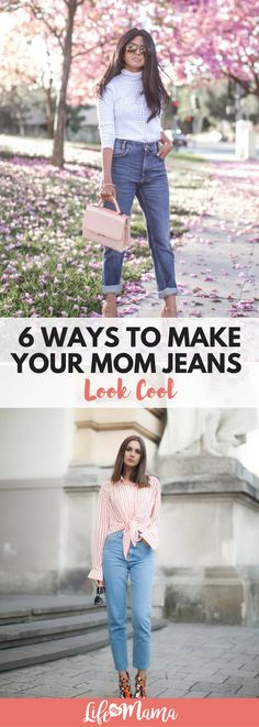 """While I wouldn't go so far as to say that skinny jeans are """"out,"""" I will definitely admit that mom jeans aren't as uncool as they used to be. The stylish ladies pictured below present the best ways to wear your favorite pair of mom jeans and look cool while doing it."""