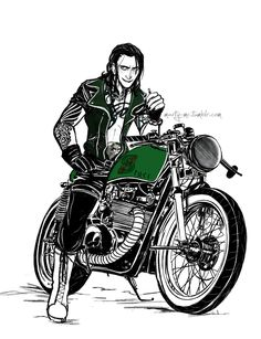 God of Mischief's riding a motorcycle, too good not to repin. I think I'm going to die of the sexiness here! IT'S LOKI ON A SEXY, MOTHERFREAKING BIKE OF SEX!!!