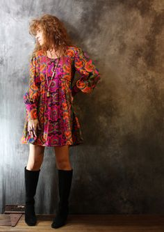 Vintage Dress 1960s Bohemian Psychedelic Hippie Baby Doll Dress Bishop Sleeves Amazing Color