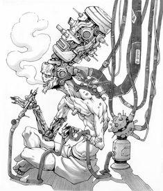 ArtStation - Inktober Guillem Ferrer Plug in instead of vape Arte Robot, Robot Art, Art Sketches, Art Drawings, 3d Art, Arte Cyberpunk, Drawn Art, Cyberpunk Character, Robot Concept Art