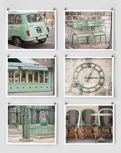 Paris Photography Collection Green Large Wall. Take pictures with te same accent color