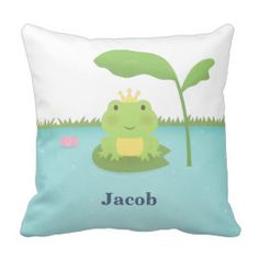 Cute Frog Prince For Boys Room Decor Pillow