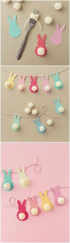 This colorful Easter garland is so easy to make with scrapbook paper and yarn! B… This colorful Easter garland is so easy to create with scrapbook paper and yarn! Children and adults love to do this together. About DIY Candy Kids Crafts, Craft Projects, Easter Crafts To Make, Easter Projects, Craft Ideas, Kids Diy, Easter Ideas, Sewing Projects, Spring Crafts