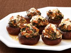 Baby Bellas stuffed with turkey or chicken and spinach -  from Rachael Ray