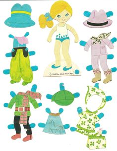 "FLATSY 1969 Ideal Toy Corp  <> Mostly Paper Dolls says, ""I loved my Flatsy Paper Dolls. I still have most of the clothing but I am missing a few hats and most of the dolls have their heads and arms taped on. I needed a cowgirl for ""GO TEXAN DAY"" so I decided to post Filly, my Flatsy cowgirl."" 2 of 2"