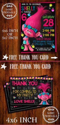 Darling Trolls Birthday Invitation with FREE Thank You Card | Trolls Invitation | Birthday Invitation | Thank You Card | Trolls | Birthday | Party | Printables | Digital Download #ad