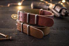18mm Dark Chocolate Brown or Dark English Red genuie leather nato strap, vintage style strap, watch strap, watch band, leather strap