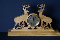 Mule Deer Fretwork Mantel Clock Scroll Saw Cut by woodworkfiddler, $39.00