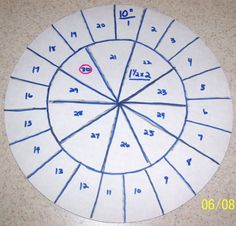 """10"""" round - Slicing guide for 30 slices. 1 1/2"""" x 2""""."""