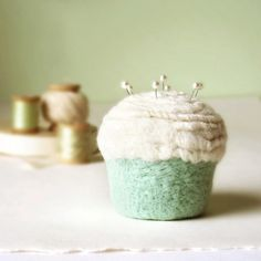 Pincushion  Felted Cupcake in Vanilla Mint by madeinlowell on Etsy, $30.00