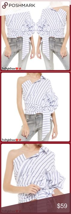 ❤️Just In❤️ Gorgeous One Shoulder Wrap Tie Blouse ❤️Gorgeous One Shoulder Striped Wrap Tie Blouse - Even Better in Person!! This is a Must Have!! Love it ❣️❣️❣️  Features: •Sexy Exposed Shoulder •One Ruffled Lantern Sleeve •One Button Closure •Wrap Tie Waist   Pair with your fav skinnies   Color: Dark Blue & White Stripe  Fabric: 100% Cotton Care instructions: Hand Wash Cold • Line Dry  Sorry, No Trades 🚫 Boutique Prices Are Firm  Bundle to Save 🛍 Thanks for Sharing!! 😘 Happy Poshing…