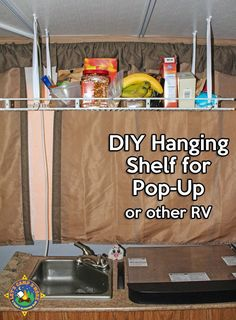 Simple DIY Hanging Shelf Hack for a Pop-Up Camper - Make this simple hanging shelf with an old wire shelf and a few other inexpensive items. It helps you keep the trailer organized. #popup #mod #RV