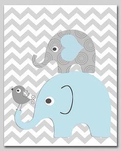 Niños de luz azul y gris elefante vivero de arte Print  arte