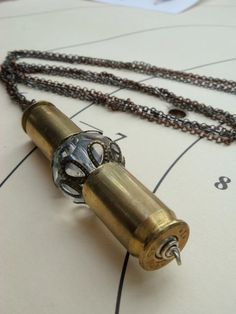 Vintage Inspired Crystal and Bullet Shell Necklace