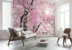 Brewster Home Fashions Bloom x 4 Piece Wall Mural Wallpaper For Home Wall, Tile Wallpaper, Photo Wallpaper, Living Room Bedroom, Bedroom Decor, Poster Mural, Pink Trees, Green Trees, Tree Wall