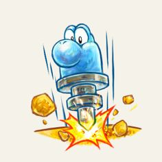 #Yoshi goes drilling, pneumatic style in the latest #YoshisIsland title.  More information on this game at http://www.themariobros.net/yoshis-new-island