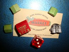 Monopoly MAGNETS Upcycled Vintage 1940's Monopoly Game Pieces SET of SIX. $3.50, via Etsy.