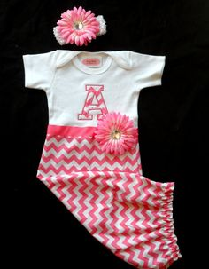 Chevron Monogram Baby Girl Clothes Newborn Girl Take Home Outfit Layette Gown and Headband  Baby Girl Gift Set Preemie 0-3 and 3-6 mon on Etsy, $43.00