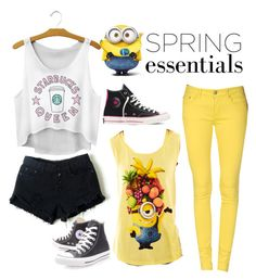 """Minion and Starbucks Outfits"" by martuxia19 on Polyvore featuring moda, Converse, Dondup y Hybrid Tees"