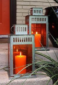 creating colored ikea lanterns for pennies, diy home crafts, outdoor living, Ikea Borrby lanterns wih orange gels