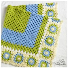"""Crochet baby afghan Blanket - apple green and blue color for baby 43"""" made to order. $90.00, via Etsy."""