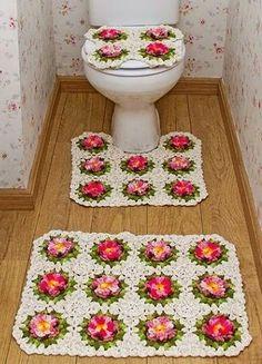 CROCHE COM RECEITA: Banheiro em croche florido