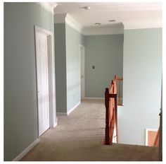 Benjamin Moore Palladium Blue hallway