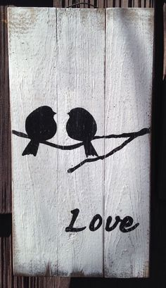 LOVE BIRD Pallet Sign Pallet Primitive Rustic Country Picture Wall Decor WOOD