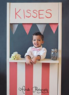 Modern Valentine's Boys Bowtie - Pink and Cream   Toddler Bowtie  Toddler Bow tie. $14.00, via Etsy.