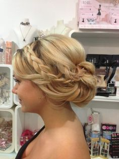 Wedding hair braid~ two things wrong here: 1. Make sure your roots are touched up. 2. The chignon shouldn't be sticking out, have it pinned tighter to the hairline.