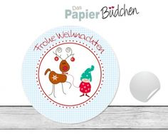 """www.papierbuedchen.de - 24 Aufkleber """" Wichtel """" (W19) - Weihnachten"""