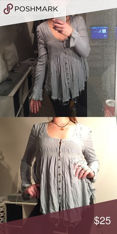 sea foam free people blouse cute button of blouse with fringe snd crochet edges. bell sleeves. worn once or twice. Free People Tops Blouses