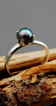 Bethany Promise ring blue gray Akoya pearl pearl by LusterWear, $97.00