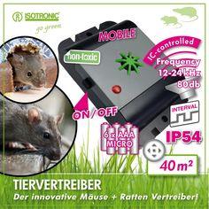 Dispozitivul  Mouse & Rat Free Mobil de la Isotronic este un aparat  mobil cu ultrasunete ce tine la distanta de locurile dorite de dvs soarecii si sobolanii.