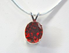 """Natural bright red Zircon sterling silver pendant 16"""" necklace huge 4.50 carat #Pendant"""