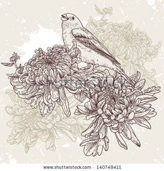 Floral background with birds and chrysanthemums vintage pattern - stock vector Vogel Illustration, Botanical Illustration, Vogel Tattoo, Illustration Botanique, Flower Fashion, Tattoo Sketches, Colouring Pages, Illustrations, Drawings