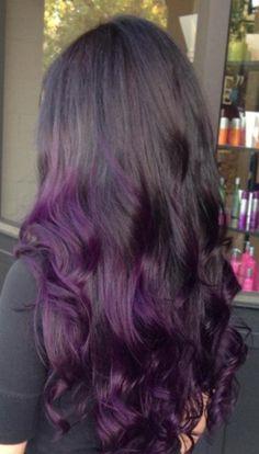 Ginger Hair Color, Hair Color Purple, Dark Purple, Purple Tips, Black To Purple Hair, Purple Hair Streaks, Hair Colors, Burgandy Ombre Hair, Dark Hair With Color