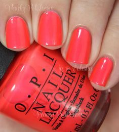 OPI Down To The Core-al | Summer 2014 Neon Collection | Peachy Polish