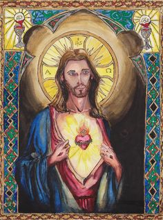 "Sacred Heart of Jesus II December 9th, 2013 7 Hours Pyrography ""O Sacred Heart of Jesus, fountain of eternal life, Your Heart is a glowing furnace of Love. You are my refuge and my sanctuary."" - St..."