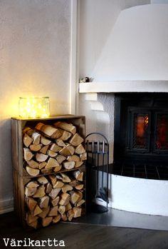 värikartta: Takkapuut Cottage Design, House Design, Inside A House, Interior Decorating, Interior Design, Firewood, Finland Country, House Interiors, Living Room