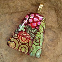Calypso Red Fused Glass Pendant Dichroic Pendant by GlassCat...Etsy