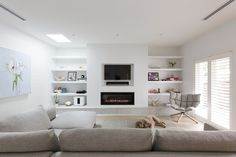 "Lounge room - recessed ""sensitive plasterboard"" shelving with gas fire and recessed TV and accessories above. Living Room Shelves, Living Room Tv, Home And Living, Home And Family, Modern Family, Home Fireplace, Living Room With Fireplace, Family Room Design, Design Room"