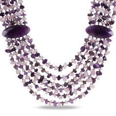 """6 Strand Mixed Purple Agate, Amethyst and Rose Quartz Chips Bead Necklace, 24"""" Amazon Curated Collection,http://www.amazon.com/dp/B00761GUPK/ref=cm_sw_r_pi_dp_oQSOrb1CP5B9CNX5"""