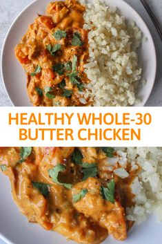 This creamy rich flavourful version of butter chicken is dairy-free paleo approved & absolutely delicious! Make a big batch & have leftovers prepped for the week in under 30 minutes! Chicken Recipes Dairy Free, Leftover Chicken Recipes, Paleo Recipes, Indian Food Recipes, Healthy Dinner Recipes, Healthy Butter Chicken Recipe, Dairy Free Dinners, Free Recipes, Whole30 Shrimp Recipes