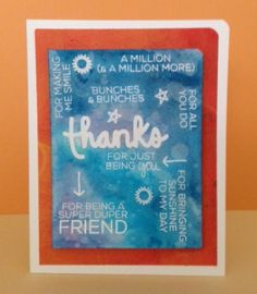 Thank you card using Say It - Thanks stamps by Technique Tuesday. Distress ink background.