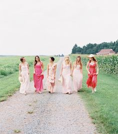 pink ombre long mismatched bridesmaid gowns inspiration 2015
