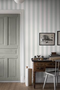 Featuring a classic stripe pattern and a stylish colour palette, our Falsterbo Stripe wallpaper has timeless appeal and suits any room. Order samples online to your door. Striped Wallpaper Living Room, Pattern Wallpaper, Stripe Wallpaper, Raw Wood, Stripes Fashion, Interior Styling, Tall Cabinet Storage, New Homes, Classic