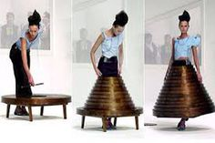 Wooden Coffee Table Skirt by Hussein Chalayan