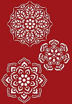 the three motifs of the Fancy Cake Folk Stencil shown in Ice White Stencil Paint on a cherry red background. Stencil Painting On Walls, Mandala Painting, Mandala Art, Bird Stencil, Damask Stencil, Faux Painting, Mandala Stencils, Free Stencils, Mandala Pattern
