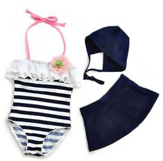 Beach Baby - Vintage Navy Stripes and Flowers Bathing Suit Set